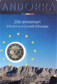 Obverse of Andorra 2 euros 2014 - 20 Years in the Council of Europe
