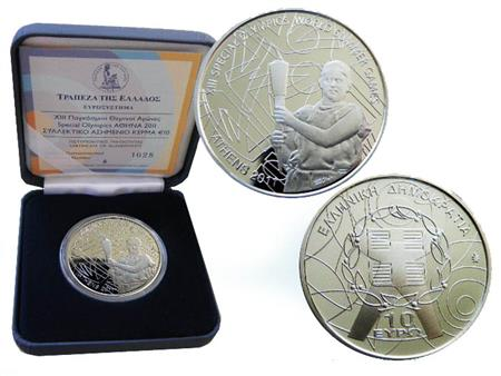 Obverse of Greece 10 euros 2011 - Torch bearer - Special Olympics 2011
