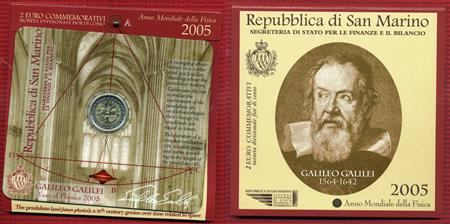 Obverse of San Marino 2 euros 2005 - World Year of Physics 2005
