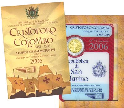 Obverse of San Marino 2 euros 2006 - 500th anniversary of Christopher Columbus' death