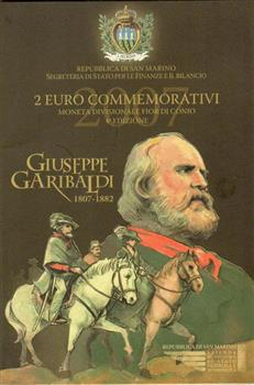 Obverse of San Marino 2 euros 2007 - Bicentenary of the birth of Giuseppe Garibaldi