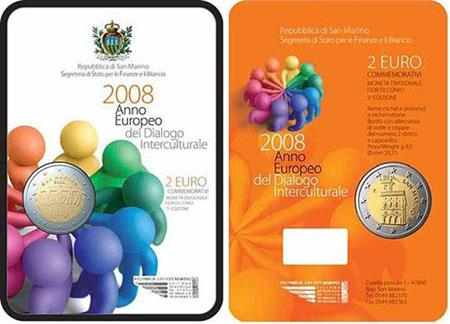 Obverse of San Marino 2 euros 2008 - European Year of Intercultural Dialogue