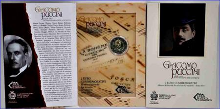 Obverse of San Marino 2 euros 2014 - 90th Anniversary of the Death of Giacomo Puccini