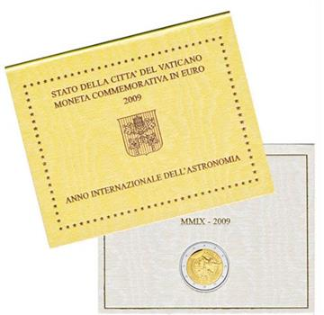Obverse of Vatican 2 euros 2009 - International Year of Astronomy