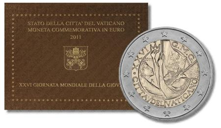 Obverse of Vatican 2 euros 2011 - The 26th World Youth Day - Madrid