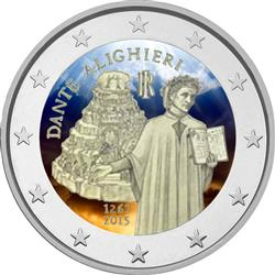 Obverse of Italy 2 euros 2015 - 750th Anniversary of Dante Alighieri