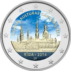 Obverse of Latvia 2 euros 2014 - Riga - European Capital of Culture 2014
