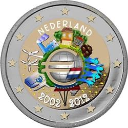 Obverse of Netherlands 2 euros 2012 - 10 years of euro banknotes and coins