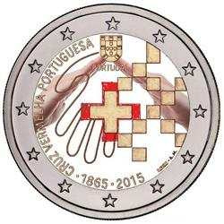 Obverse of Portugal 2 euros 2015 - 150 Years Portuguese Red Cross