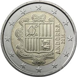 Obverse of Andorra 2 euros 2015 - Andorran Coat of Arms