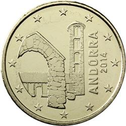 Obverse of Andorra 50 cents 2014 - The Church of Santa Coloma
