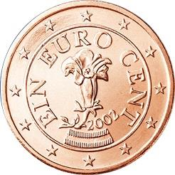 Obverse of Austria 1 cent 2002 - The gentian, a flower of the Austrian Alps