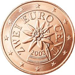 Obverse of Austria 2 cents 2002 - The edelweiss, a flower of the Austrian Alps