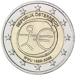 Obverse of Austria 2 euros 2009 - 10th anniversary of the EMU and the birth of the euro