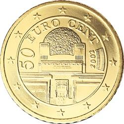 Obverse of Austria 50 cents 2008 - The Secession Building