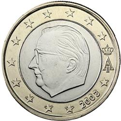 Obverse of Belgium 1 euro 2002 - Effigy and monogram of King Albert II