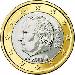 Obverse of Belgium 1 euro 2008 - Effigy and monogram of King Albert II
