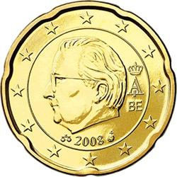 Obverse of Belgium 20 cents 2010 - Effigy and monogram of King Albert II