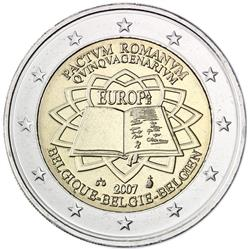 Obverse of Belgium 2 euros 2007 - 50th anniversary of the Treaty of Rome