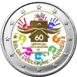 Obverse of Belgium 2 euros 2008 - 60th Anniversary of the Universal Declaration of Human Rights
