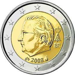 Obverse of Belgium 2 euros 2010 - Effigy and monogram of King Albert II