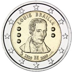 Obverse of Belgium 2 euros 2009 - 200th Birthday of Louis Braille