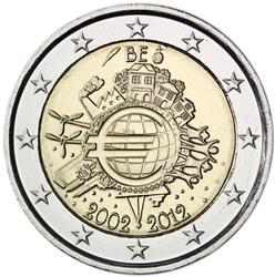Obverse of Belgium 2 euros 2012 - 10 years of euro banknotes and coins