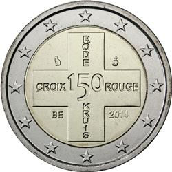 Obverse of Belgium 2 euros 2014 - 150 Years Belgium Red Cross