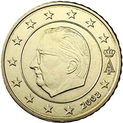 Obverse of Belgium 50 cents 2003 - Effigy and monogram of King Albert II