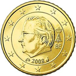 Obverse of Belgium 50 cents 2008 - Effigy and monogram of King Albert II