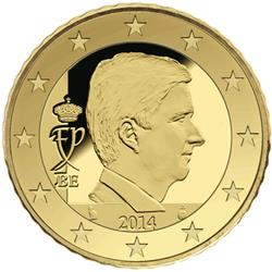 Obverse of Belgium 50 cents 2014 - Effigy and monogram of King Philippe
