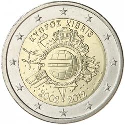 Obverse of Cyprus 2 euros 2012 - 10 years of euro banknotes and coins