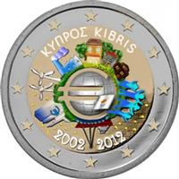 Image of Cyprus 2 euros colored euro