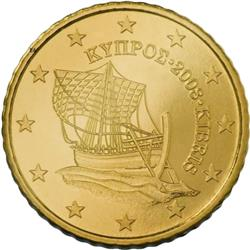 Obverse of Cyprus 50 cents 2008 - The Kyrenia ship