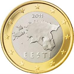 Obverse of Estonia 1 euro 2011 - Geographical image of Estonia
