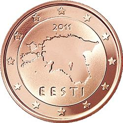 Obverse of Estonia 2 cents 2011 - Geographical image of Estonia