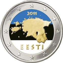 Obverse of Estonia 2 euros 2011 - Geographical image of Estonia