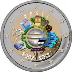 Obverse of Estonia 2 euros 2012 - 10 years of euro banknotes and coins