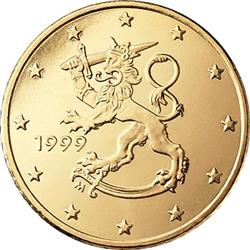 Obverse of Finland 10 cents 1999 - The heraldic lion of Finland