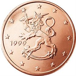 Obverse of Finland 1 cent 1999 - The heraldic lion of Finland
