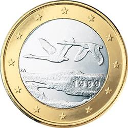 Obverse of Finland 1 euro 2004 - Two flying swans
