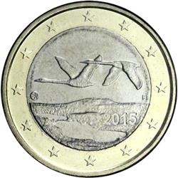 Obverse of Finland 1 euro 2008 - Two flying swans