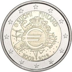 Obverse of Finland 2 euros 2012 - 10 years of euro banknotes and coins