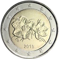 Obverse of Finland 2 euros 2015 - The fruit and leaves of the cloudberry