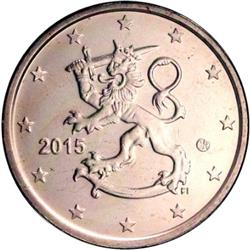 Obverse of Finland 5 cents 2015 - The heraldic lion of Finland