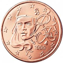 Obverse of France 1 cent 2015 - Depicts a young, feminine Marianne