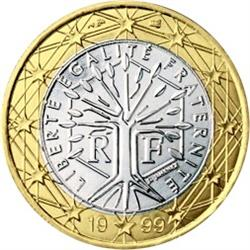 Obverse of France 1 euro 2001 - A stylised tree with the motto Liberte Egalite Fraternite