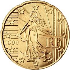 Obverse of France 20 cents 2009 - The sower, a theme carried over from the franc