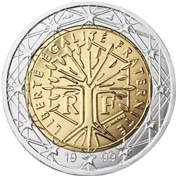 Obverse of France 2 euros 2015 - A stylised tree with the motto Liberte Egalite Fraternite