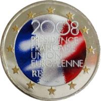 Image of France 2 euros colored euro
